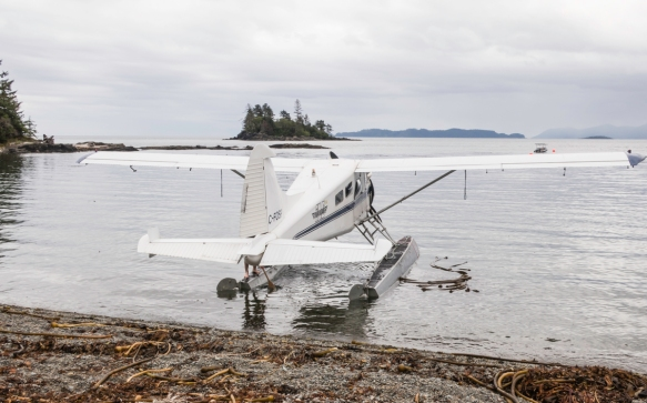 The de Havilland Beaver floatplane that flew us to Skedans Bay and the long-abandoned native Haida village of K_uuna Llnagaay on Louise Island, Queen Charlotte Islands, British Columbi