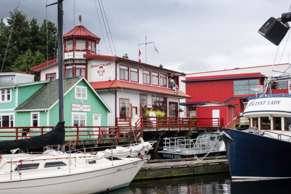 The Eagle Bluff B&B (bed and breakfast) is part of the colorful waterfront in Prince Rupert, British Columbia, Canada