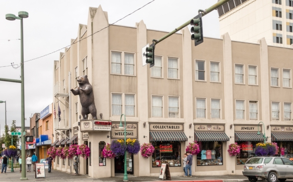 The Grizzly store occupies a building near the 1939 Federal Building and, like it, is an early concrete structure in downtown Anchorage, Alaska, USA