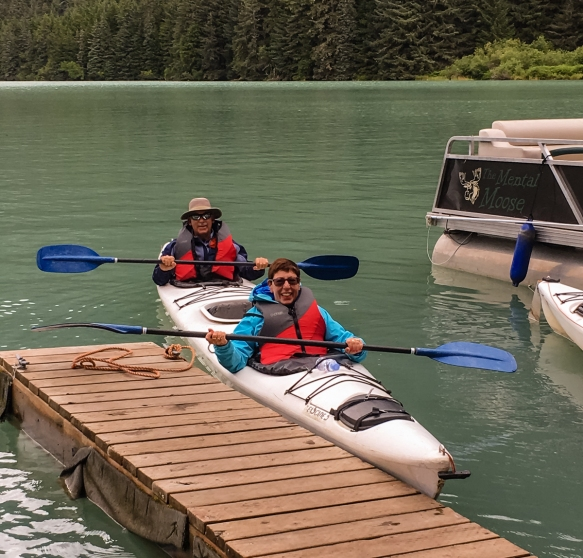 The intrepid explorer and your blogger leaving the dock for an afternoon of kayaking around Lake Chilkoot, Haines, Alaska, USA