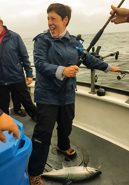 The intrepid explorer caught her first salmon of the day on U-Rascal from Kodiak Island, Alaska USA