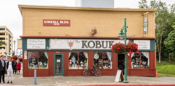 The Kimball Building, from 1915, is now the home of an emporium specializing in teas and coffee and gifts, Anchorage, Alaska, USA