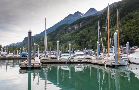 The marina next to the cruise piers in the harbor of Skagway, Alaska