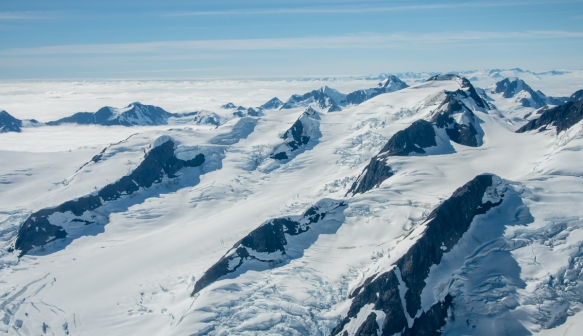 The middle snow field looks very inviting for heli-skiing (helicopter); Knik Glacier, Anchorage, Alaska US