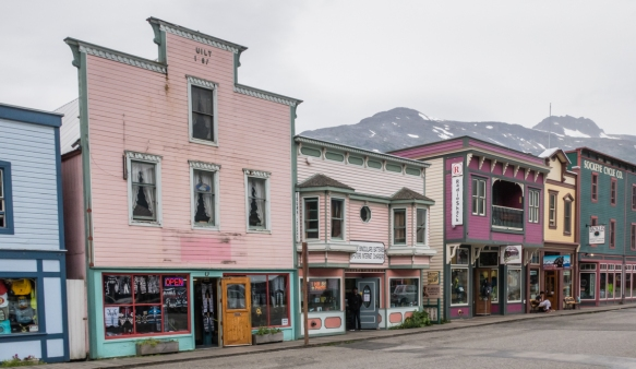 The pink building on the left, built in 1897, is one of the older extant buildings in the historic district of Skagway, Alaska