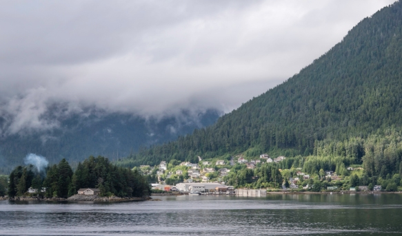 The sun was out over part of the coastal city while it was raining heavily in the nearby Tongass National Rainforest, Sitka, Alaska, USA