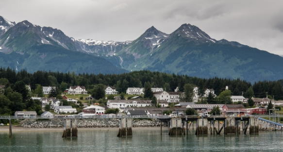The top two rows of buildings in this photograph of the small town of Haines, Alaska, USA, belong to the now decommissioned Fort William H. Seward, a United States Army installation that