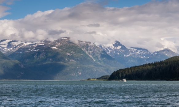 The view of the surrounding mountains from the pier in Haines, Alaska, USA