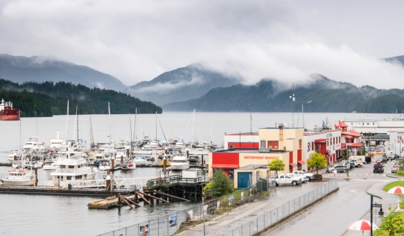 The waterfront harbor at Prince Rupert, the gateway to British Columbia, Canada, just 49 nautical miles south of the Alaska border on the Pacific Ocean