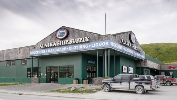 "Where small towns in New England have ""general stores"" of a modest size, the Alaska Ship Supply store is a giant combination hardware store and grocery in Dutch Harbor, Amaknak Islan"