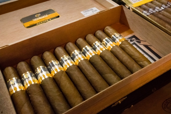 A close-up of some of the finest Cuban cigars at the store, Cienfuegos, Cuba