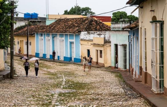 A cobblestone residential street in Trinidad, Cuba