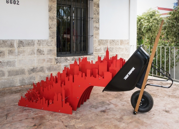 "A contemporary conglomerate ""metropolis"" metal sculpture at a private, modern art gallery in Havana, Cuba"