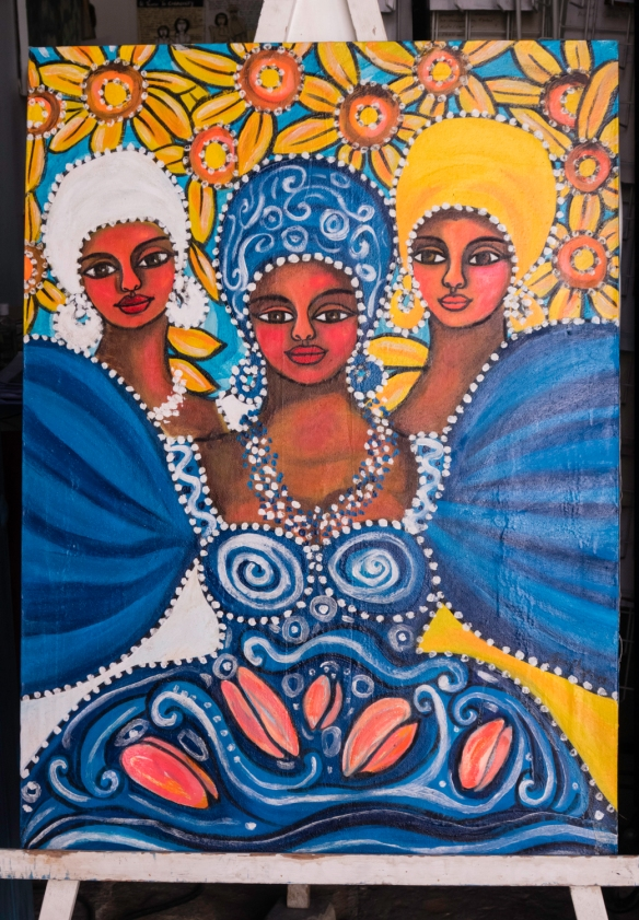 A contemporary print of dancers displayed outdoors at a gallery in Old Havana, Havana, Cuba