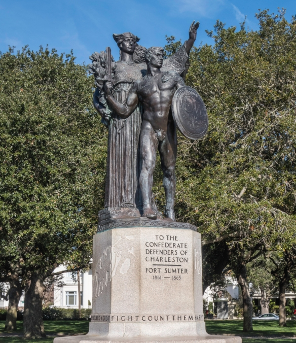 A monument to the Confederate defenders of Charleston during the American Civil War (1861-1865) in the waterfront White Point Garden Park at the southeast corner of Charleston, South Car