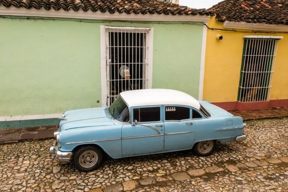 "A rare sighting of an American 1950s ""classic car"" in Trinidad, Cuba; note that the majority of the restored cars in Cuba are to be found in Havana"