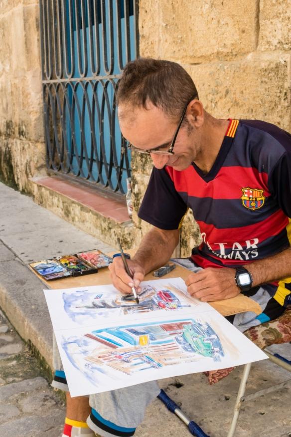 A street artist in Old Havana, Havana, Cuba