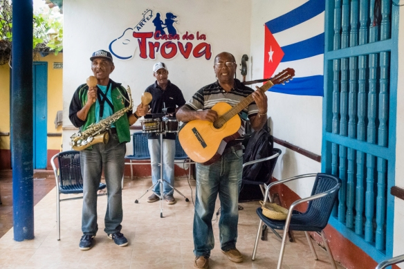 A trio at the paladar Casa de la Trova, Trinidad, Cuba, where afternoon coffee was popular