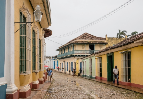 A typical cobblestone street in Trinidad, Cuba