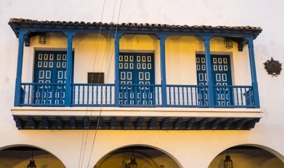 Architectural detail on one of the colonial buildings around Parque Céspedes, Santiago de Cuba, Cuba