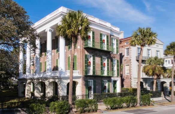 Beautiful homes along the southeastern waterfront (along East Battery Street) in Charleston, South Carolina, USA