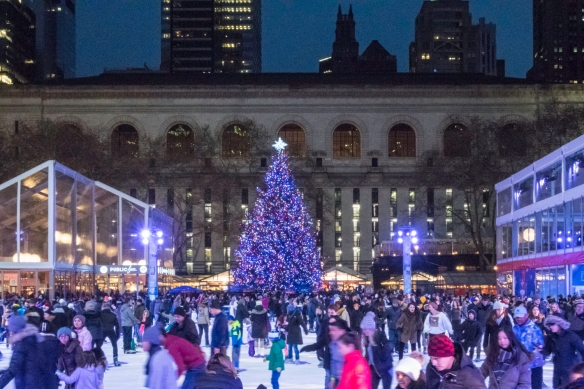 "Behind the main branch of the New York Public Library is a winter wonderland with the Bryant Park ice skating rink (skating is free!) and a ""pop-up"" Holiday shopping arcade with doze"