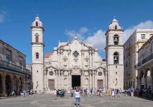 Construction of La Catedral de la Virgen María de la Concepción Inmaculada de La Habana (Havana Cathedral) in Old Havana was started in 1748 and completed in 1787, Havana, Cuba; it's