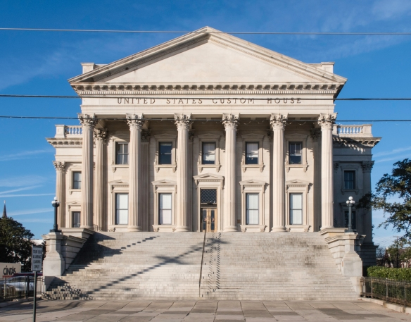 Construction of the United States Customs House started in 1853 (before the Civil War, 1861-1865) but was not completed until 1879, Charleston, South Carolina, USA