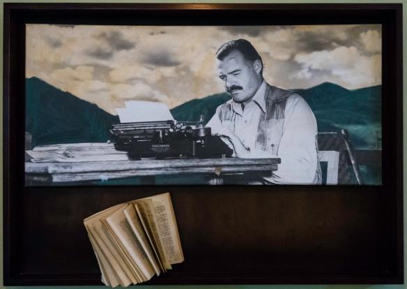 "Ernest ""Papa"" Hemingway writing in Cuba; photo in Hemingway_s room during 1939 in the Hotel Ambos Mundos in Havana, Cuba"