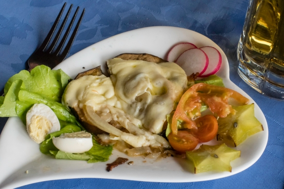 For a starter we enjoyed fried eggplant topped with melted cheese and salad, luncheon at El Lagarto, Cienfuegos, Cuba