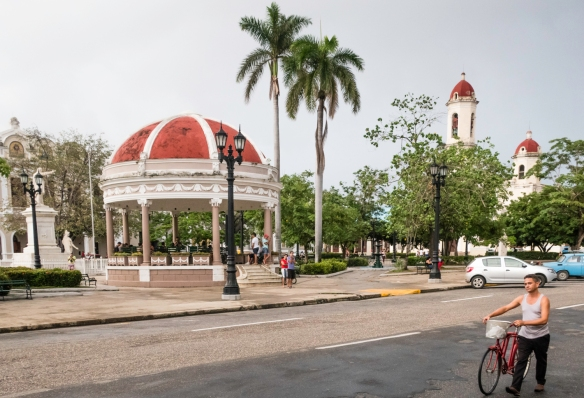 Local citizens flock to the pavilion in the center of Parque José Martí in order to access the internet via the local phone company_s WiFi network – the Internet came to Cuba onl