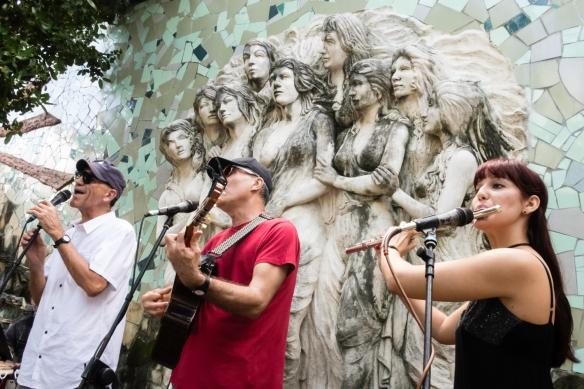 Local musicians, members of the local chapter of UNEAC (Unión de Escritores y Artistas de Cuba), performing their Afro-Cuban musical compositions for us in the Jardines (gardens) de la