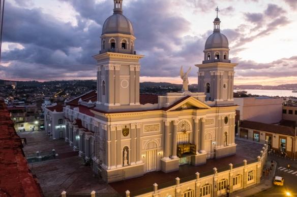 Nuestra Señora de la Asunción Cathedral (The Basilica Cathedral of Our Lady of the Assumption) at dusk, Santiago de Cuba, Cuba