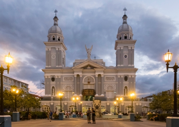Nuestra Señora de la Asunción Cathedral (The Basilica Cathedral of Our Lady of the Assumption) is located in the Parque Céspedes, Santiago de Cuba, Cuba