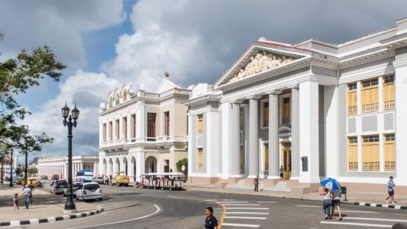 On the north side of Parque José Martí is Teatro Tomas Terry and several historic buildings, Cienfuegos, Cuba