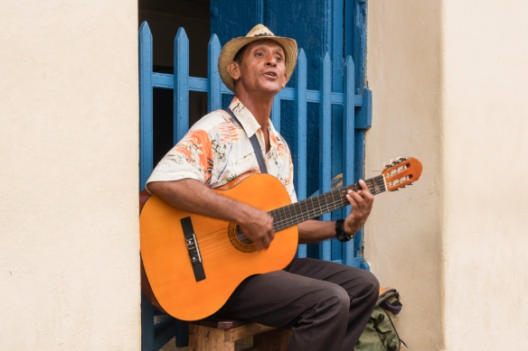 Once it stopped raining, more musicians came out and played around town, Trinidad, Cuba