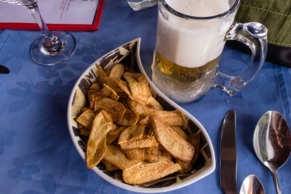 "Our ""starters"" began with fried slices of local plantains, luncheon at El Lagarto, Cienfuegos, Cuba"