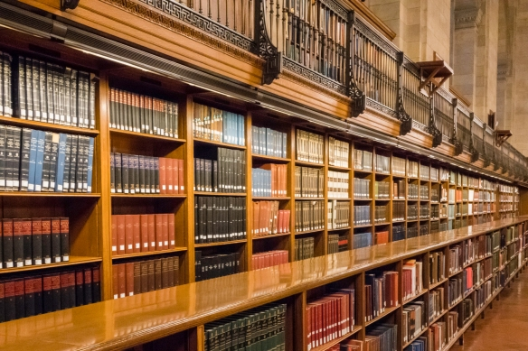 Part of the original 75 miles (121 kilometers) of shelves for books from when the main branch of the New York Public Library opened in 1911, New York, New York, USA
