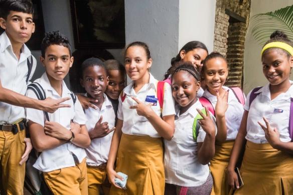 School children posing in Santiago de Cuba, Cuba
