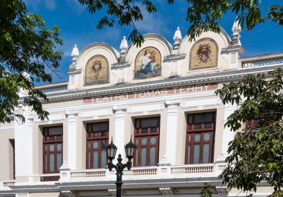 Teatro Tomas Terry, with its gold-leaf mosaics and ceiling frescoes, was built in 1889 and designed for 1,200 people -- one of the largest capacity theaters in the-Caribbean, Cienfuegos,