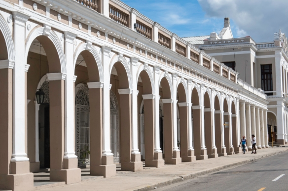 The arcade next to Teatro Tomas Terry, across from Parque José Martí, is now filled with artist studios and galleries, Cienfuegos, Cuba