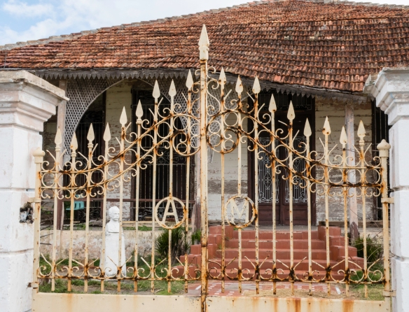 """The dilapidated remains of a former villa as we walked south from Palacio de Valle at Punta Gorda, Cienfuegos, Cuba, toward the point and lunch at El Lagarto (see our upcoming """"Eat Loc"""