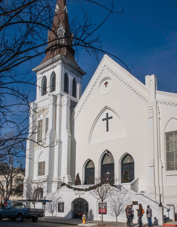 The Emmanuel A.M.E. Church has the oldest African-American congregation south of Baltimore, MD, and was the site of a mass shooting in which white supremacist Dylan Roof murdered nine Af