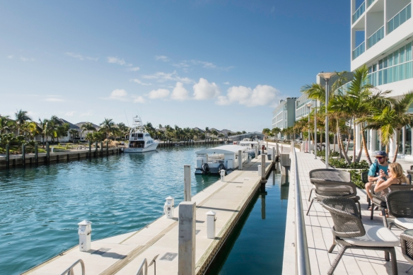 The Hilton at Resorts World Bimini, Bahamas, fronts onto a channel that provides boat access to both the hotel and some of the Resort_s homes and bungalows