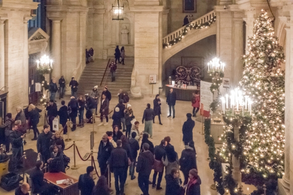 The lobby of the main branch of the New York Public Library decorated for the holidays, New York, New York, USA
