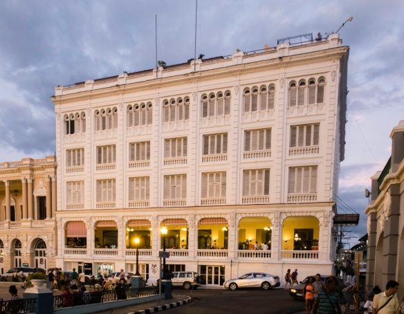 The rooftop bar at Casa Granda Hotel (Hotel Casagranda) was a wonderful spot for a drink at sunset and dusk, overlooking Parque Céspedes and the adjacent Cathedral, Santiago de Cuba, C