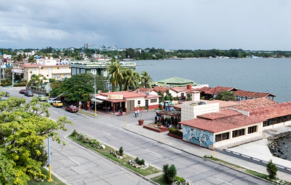 The view towards Parque de Diversiones and the east side of Cienfuegos, Cuba, from one of the towers of Palacio de Valle at Punta Gorda where we had local rum drinks on the rooftop