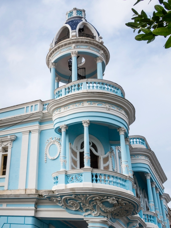 This colonial era building with a cupola is the structure pictured in the reflection, above; Cienfuegos, Cuba
