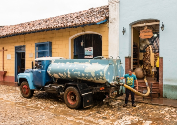 Water delivery to the paladar (restaurant), Trinidad, Cuba; for western visitors, bottled water is the best bet