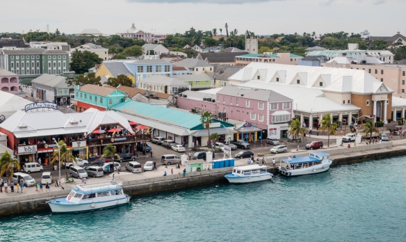 A close-up of the restaurants and shops along Woodes Roger_s Walk, fronting Nassau Harbor in Nassau, Bahamas